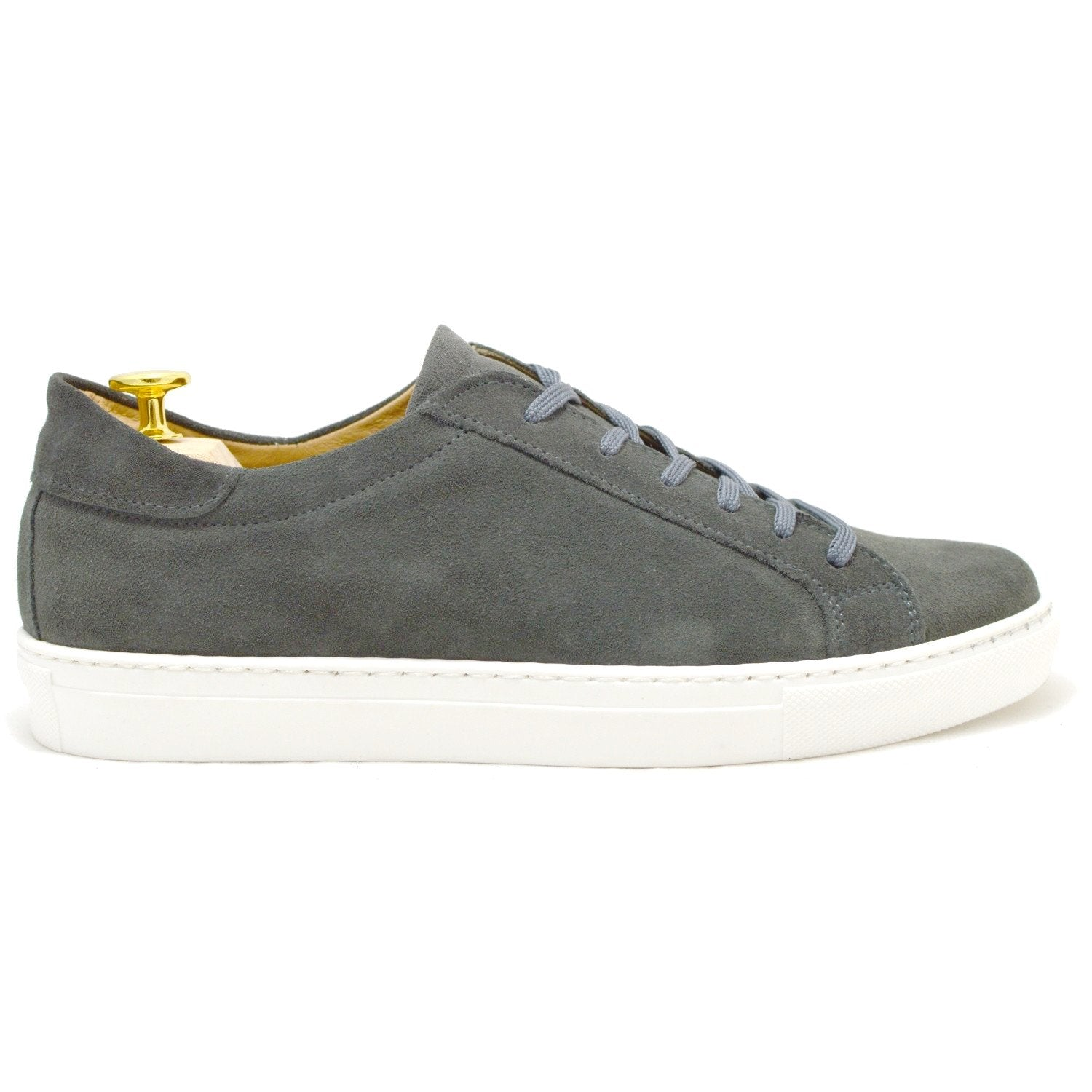 Italian gray suede sneakers for men with white rubber sole