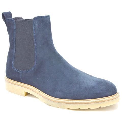 Siena, Italian Navy Suede Chelsea Boots with creme crepe rubber sole.