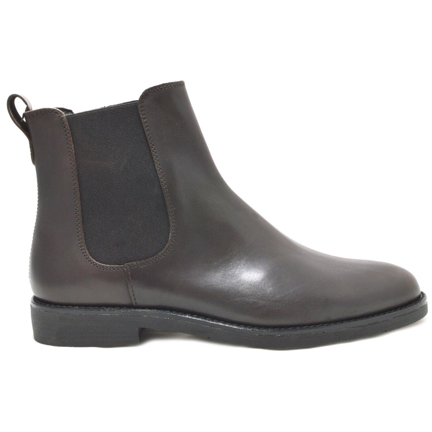 Dark Siena, Italian Calfskin Leather Chelsea Boots with a black rubber sole
