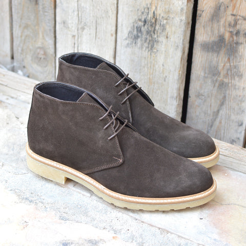 Treviso, Italian Suede Leather Desert Boots with a creme crepe rubber sole