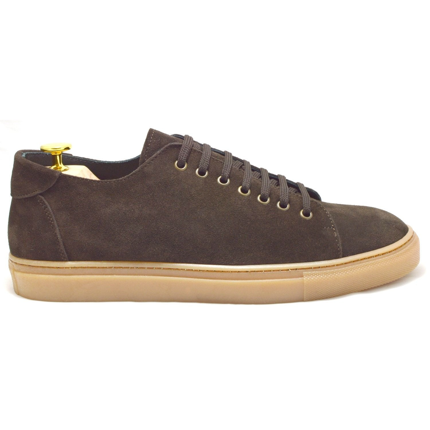 Sneakers Otranto, brown suede, amber sole, made in italy, ofanto italy