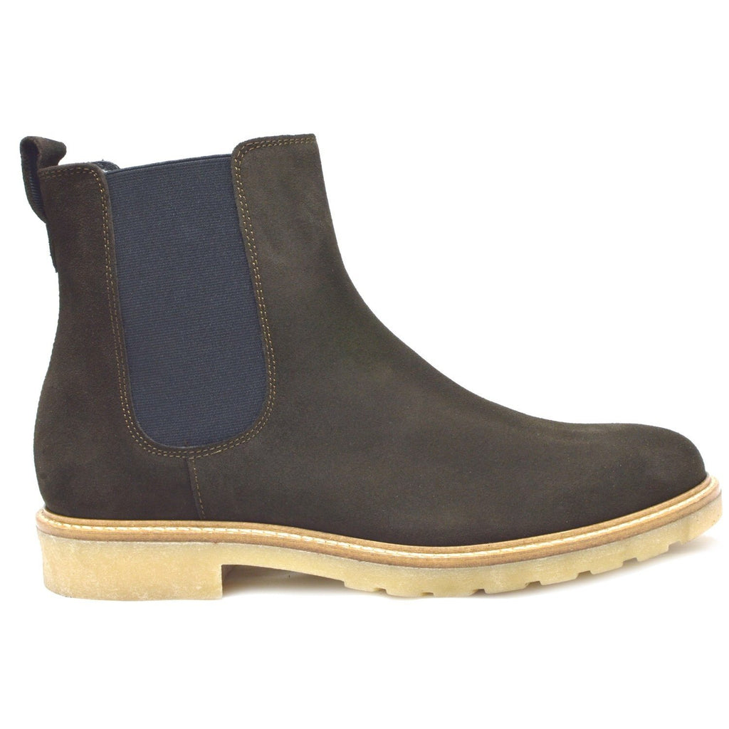 Siena, Italian Brown Suede Chelsea Boots with creme crepe rubber sole.