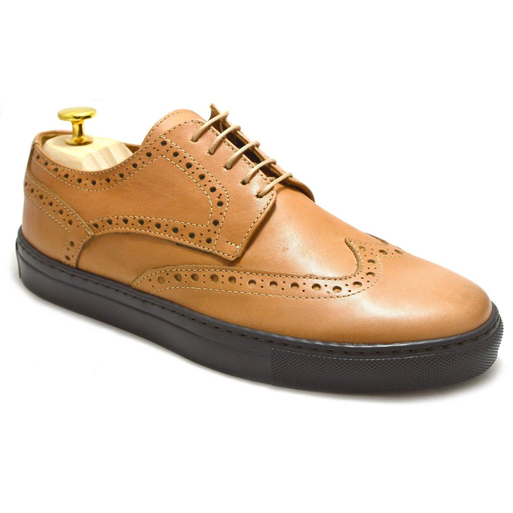 Sneakers Capri, Buff Leather and Brown Rubber Sole, Made in Italy, Ofanto Italy