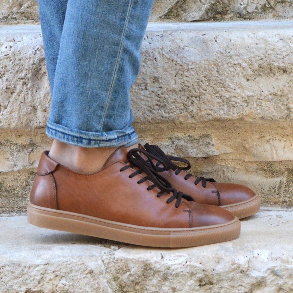 Sneakers Otranto, cognac leather, amber sole, made in italy, ofanto italy