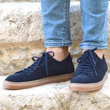 Sneakers Otranto, navy suede leather, amber sole, made in italy, ofanto italy