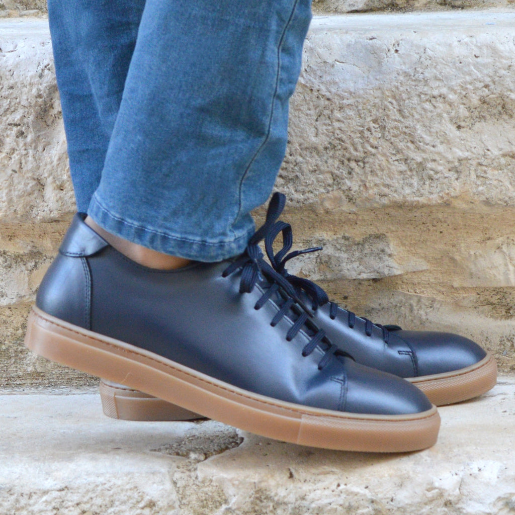 Sneakers Otranto, navy leather, amber sole, made in italy, ofanto italy