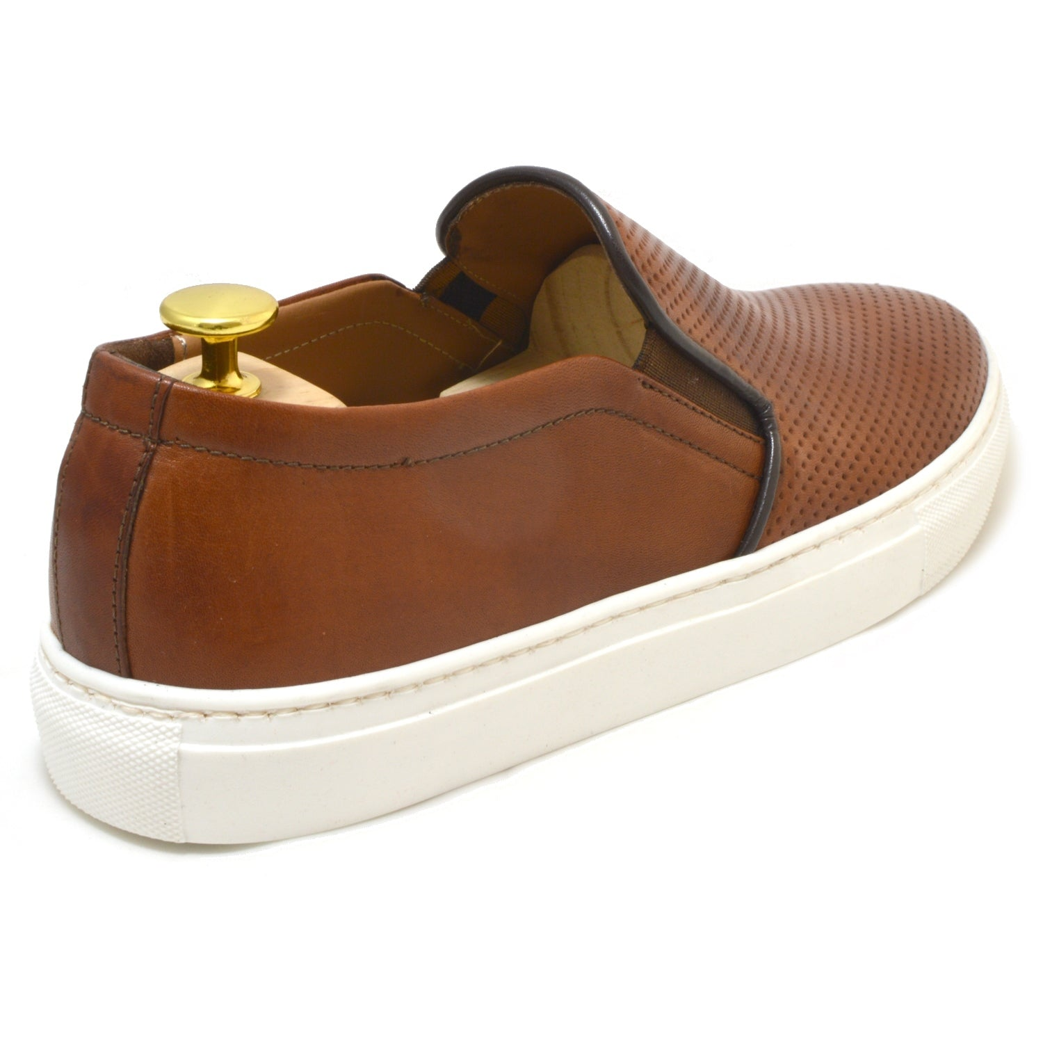 slip-on Ponza, perforated suede leather with white sole, Made in Italy by Ofanto Italy