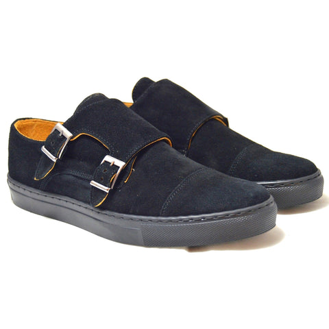 Italian black suede double monk straps with black rubber sole