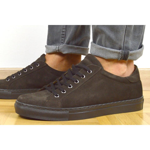 Italian brown suede sneakers with brown rubber sole