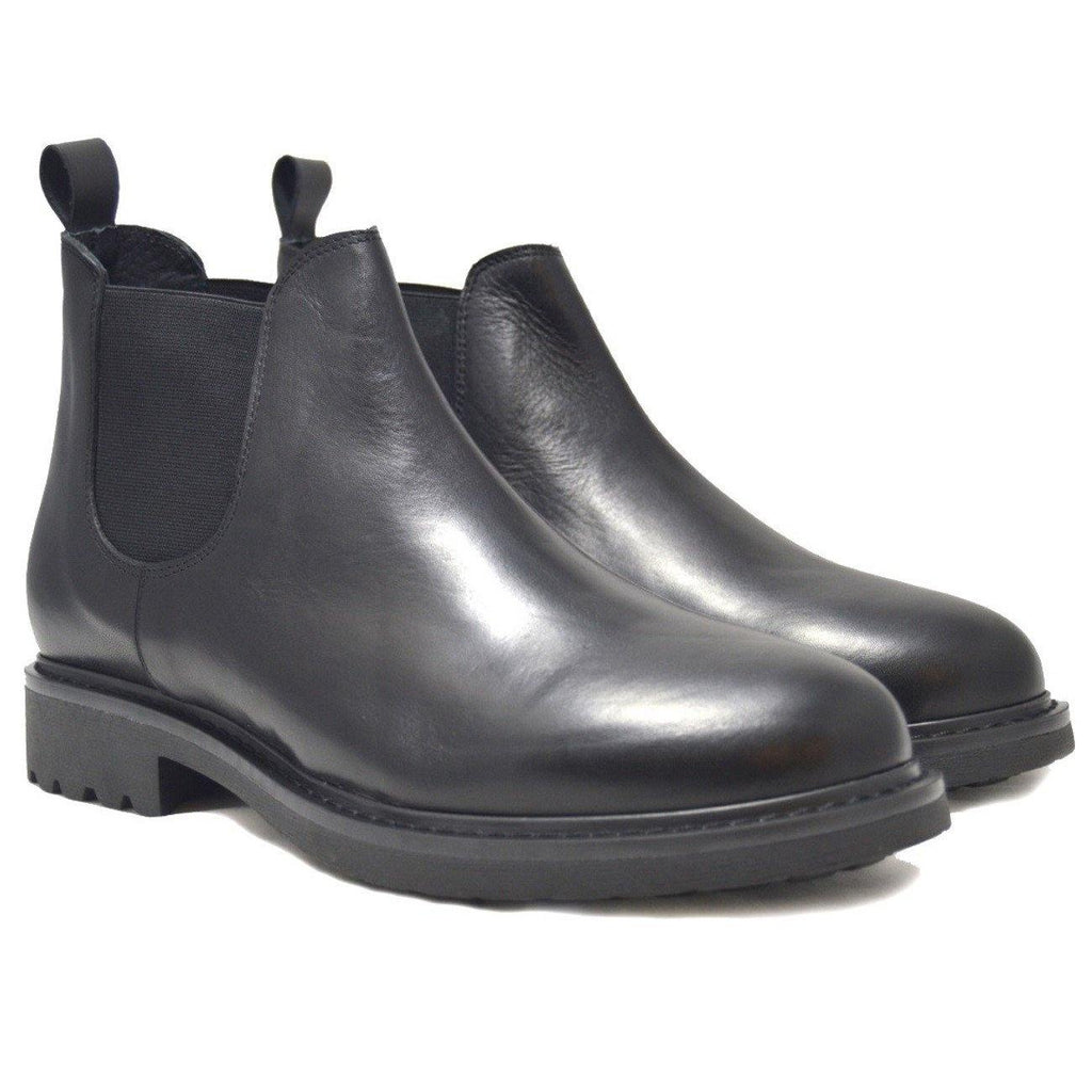 Beatles Boots Brera Black Leather, Made in Italy leather boots | Ofanto Italy