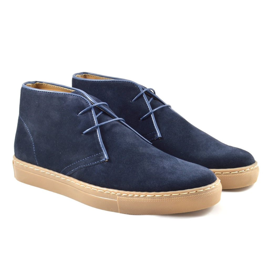 Made in Italy Desert Boot, Navy Suede, Amber Rubber Sole, Ofanto Italy