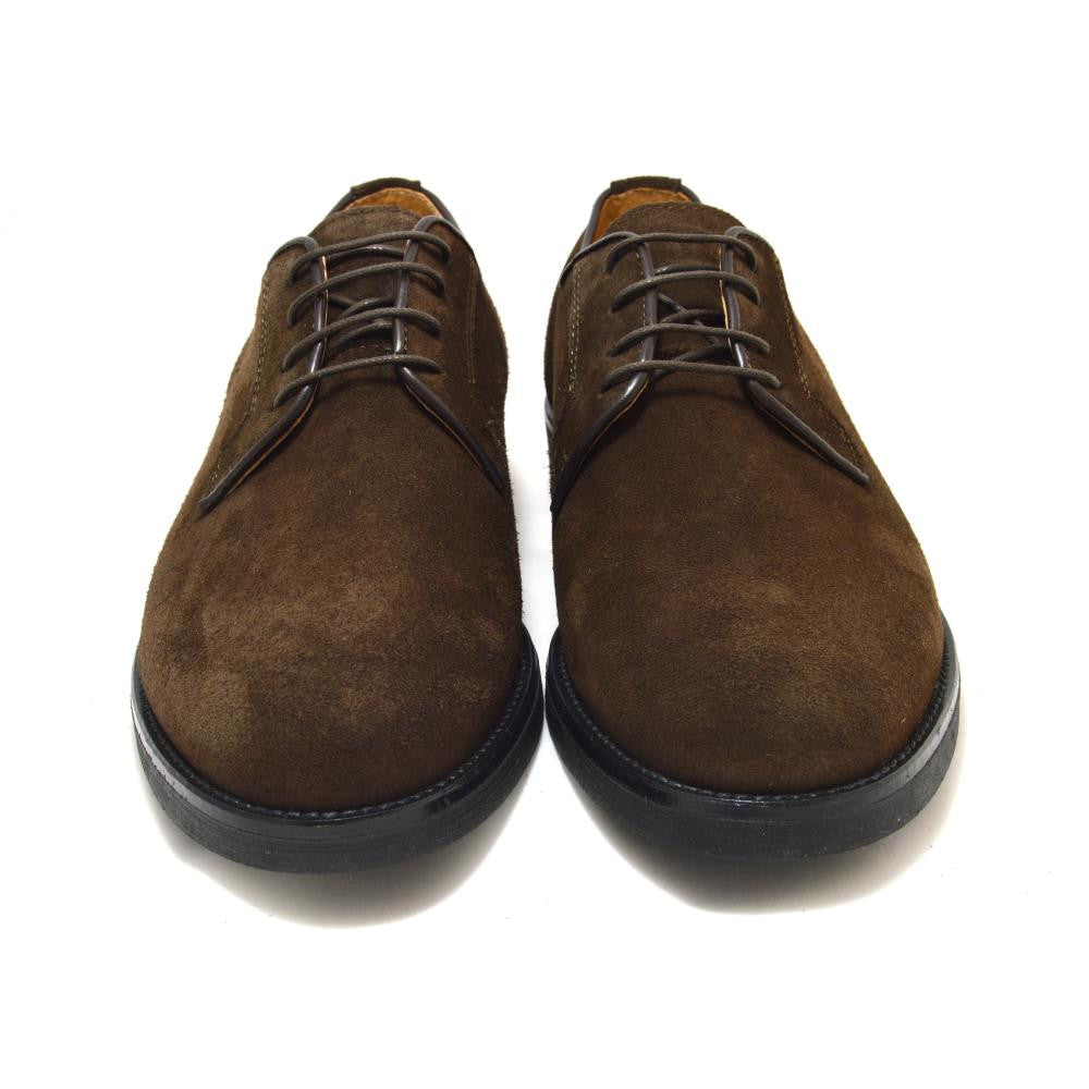 Italy Derby Shoes in brown suede with a black rubber sole, Piacenza
