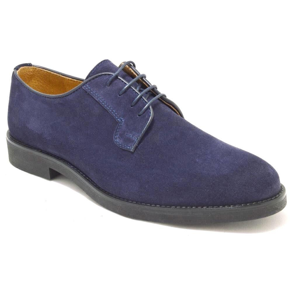 Italy Derby Shoes in navy suede with a black rubber sole, Piacenza