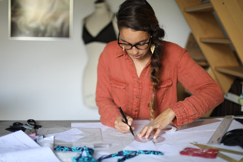 Laure in her sewing room, Lore of The Sea Founder
