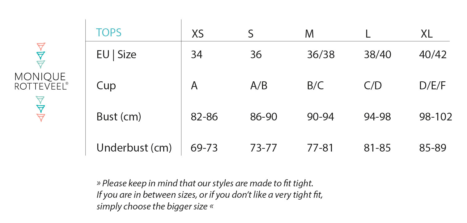 Monique Rotteveel Size Chart Tops