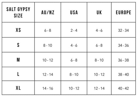 Salt Gypsy Size Guide