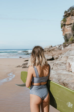 Salt Gypsy Luna Surf Crop Top Houndstooth Eco and Sustainable