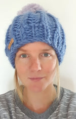 Load image into Gallery viewer, Seafoam Surf Custom Bobble Hat Peruvian Highland Wool Handmade in Wales