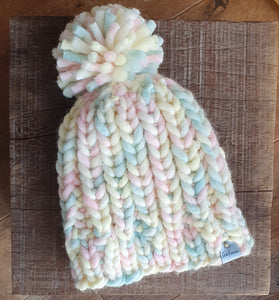 Seafoam chunky knit beanie peruvian highland wool hand knit made in wales