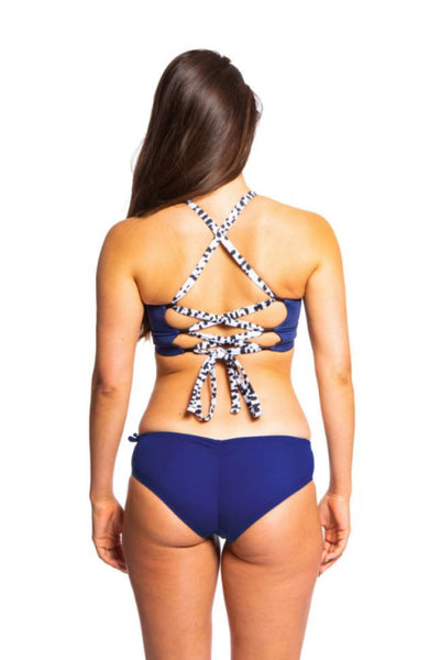 Sensi Graves Bikinis Alexa Top Deep Blue Double Cross Back Small Chest Surf Kitesurf Econyl