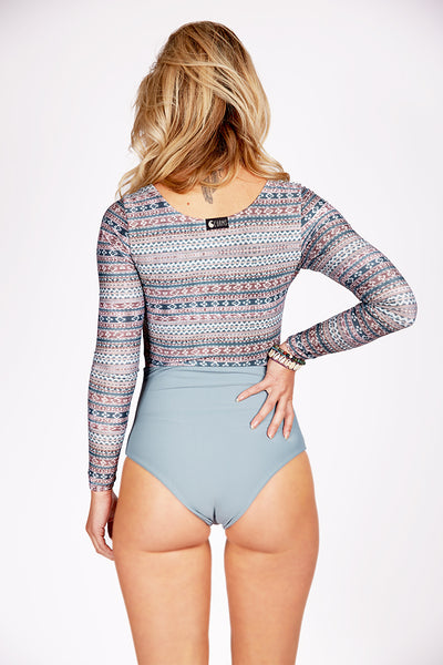Curms Lowrise Longsleeve One Piece Surf Suit Gray Blue