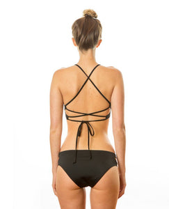 Sensi Graves Bikinis Claire Surf top black double cross back straps econyl