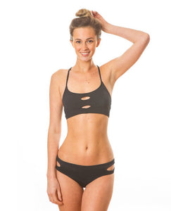 Sensi Graves Bikinis Surf Kitesurf Claire Top Black Double Cross Back Strap
