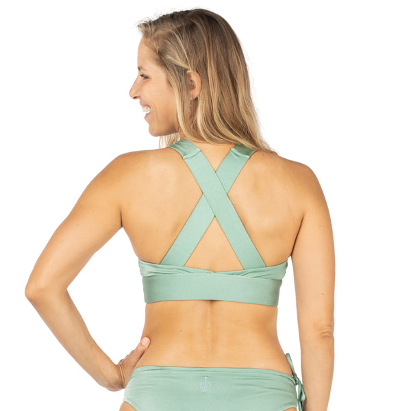 Zealous Clothing Sporty Spice Surf Bikini Top Sage Clay Fixed Cross Back Reversible