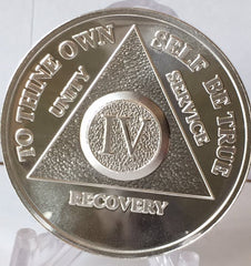 Silver Plated AA Medallions Alcoholics Anonymous Chips