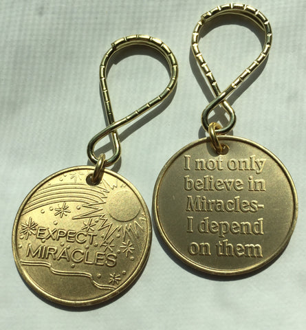 Expect Miracles Bronze Keychain Medallion - RecoveryChip