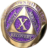 1 - 10 & 30 Year AA Medallion Elegant Glitter Purple Gold & Silver Plated Sobriety Chip - RecoveryChip