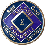 Offical NA Triplate Purple Blue & Black Color Narcotics Anonymous Medallion 18 Month Year 1 - 50 - RecoveryChip