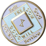 Offical NA Tri-Plate Pink & Gold Color Narcotics Anonymous Medallions 18 Month Year 1 - 50 - RecoveryChip