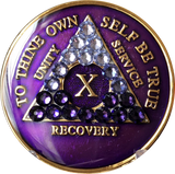Crystal AA Medallion Transition Purple Tri-Plate Sobriety Chip Year 1 - 45 - RecoveryChip
