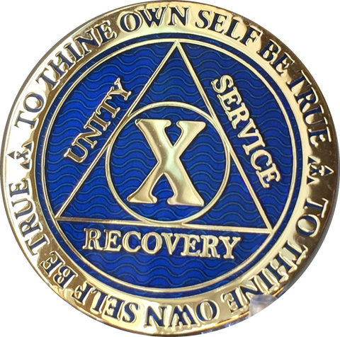 10 Year AA Medallion Reflex Blue Gold Plated Alcoholics Anonymous RecoveryChip Design - RecoveryChip