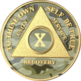 Camo & Gold Plated Any Year 1 - 65 AA Chip Alcoholics Anonymous Medallion Coin - RecoveryChip