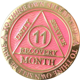 1 - 11 Month AA Medallion Reflex Pink Gold Plated Sobriety Chip Coin - RecoveryChip
