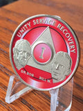 AA Founders Red Nickle Plated Any Year 1 - 65 Medallion Alcoholics Anonymous Chip Bill W Dr Bob - RecoveryChip