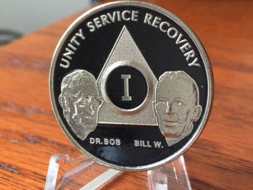 AA Founders Black Nickel Plated Any Year 1 - 65 Medallion Chip Bill W & Dr Bob - RecoveryChip