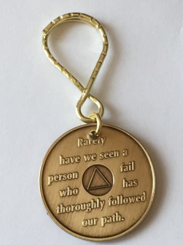 AA Alcoholics Anonymous Founders Key Chain Tag Medallion Chip Bill W Dr Bob