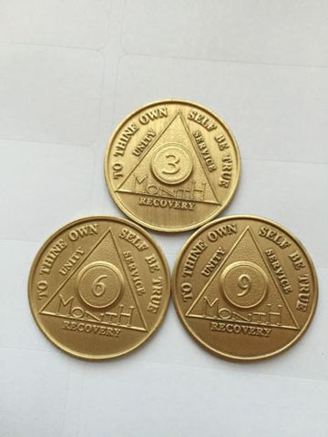 AA Alcoholics Anonymous Medallion Chip Set 3 6 9 Months Coin Coins 90 Days - RecoveryChip
