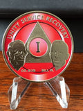 AA Founders Red Nickel Plated Any Year 1 - 65 Medallion Alcoholics Anonymous Chip Bill W Dr Bob - RecoveryChip