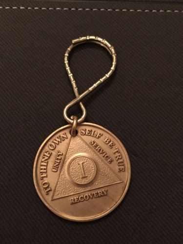 AA Alcoholics Anonymous 1 Year Anniversary Medallion Chip Key Chain Keytag Keychain Tag - RecoveryChip