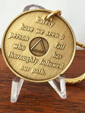 AA Alcoholics Anonymous Founders Key Chain Tag Medallion Chip Bill W Dr Bob - RecoveryChip