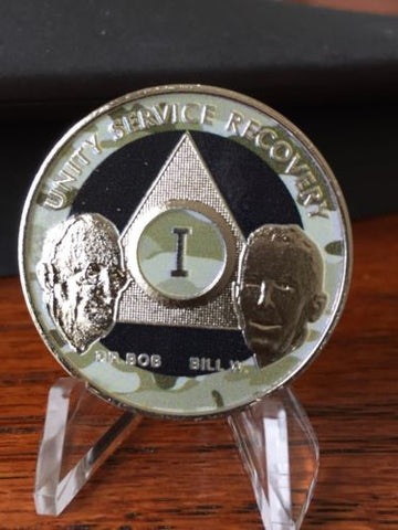 AA Founders Camo Black Nickel Plated Any Year 1 - 65 Medallion Chip Bill W Dr Bob - RecoveryChip
