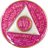 AA Medallion Pink Glitter Tri-Plate Sobriety Chip Year 1 - 45 - RecoveryChip