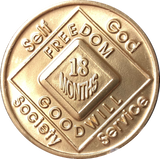 NA Medallion Bronze Narcotics Anonymous Chips Year 1 - 65 and 18 Months - RecoveryChip