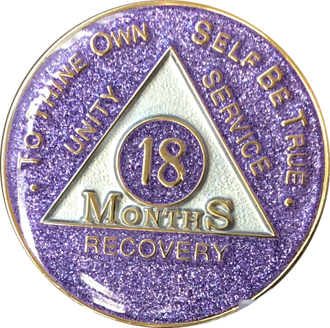 18 Month AA Medallion Purple Glitter Tri-Plate Sobriety Chip - RecoveryChip