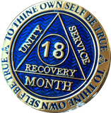 18 Month AA Medallion Reflex Blue Gold Plated Sobriety Chip - RecoveryChip