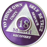 Purple Silver Plated 1 2 3 4 5 6 7 8 9 10 11 18 Month AA Medallion Sobriety Chip - RecoveryChip